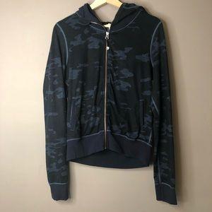 Lululemon Camo Hoodie Sweater Zip Up blue black 8